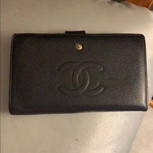 Vintage Chanel Black Leather Wallet